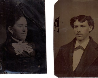 Two Antique Tin Type Photographs Woman and Man Vintage Ferrotype 2-1/2 x 3-1/2