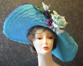 Turquoise Kentucky Derby Hat, Derby Hat, Easter Hat, Garden Party Hat, Tea Party Hat, Church Hat, Downton Abbey Hat, hat Turquoise Hat 077