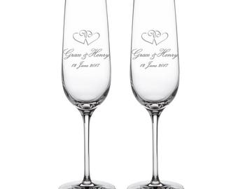 Set Of 2 Champagne Flutes - Wedding Prosecco Glasses - Beautifully Engraved - Hearts - Personalised With Names And Date - Wedding Gift Ideas
