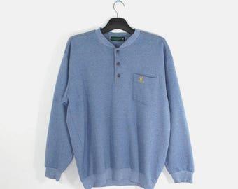 Lyle & Scott Pullover VINTAGE Lyle And Scott Button Down Blue Pullover Men's Size M/L