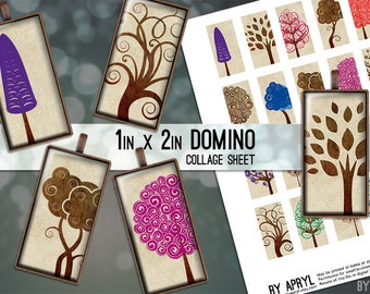 Trees Colorful Brown 1x2 Domino Collage Sheet Digital Images for Domino Pendants Magnets Scrapbooking Journaling JPG D0036