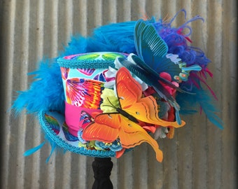 Kentucky Derby Mini Top Hat, Rainbow Butterfly Hat, Pride Rainbow hat, Alice in Wonderland Mini Top Hat, Mad Hatter, Extra large Mini hat