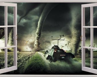 3D Window View Funnel Cloud Tornado Wall Decal Sticker Frame Mural Effect Home Decor Bedroom Living Room Kitchen Bathroom Nursery 213