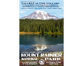 "Mount Rainier WPA-style poster. Color. 13"" x 19""  Original artwork, signed by the artist!"