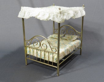 Brass Canopy Bed Vintage Dollhouse Furniture 1970s Miniature Doll House Brass Bed with Canopy - Mattress - Pillows
