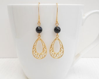 Gold filigree earrings, Gold black onyx earrings, Black and gold earrings