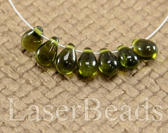 Teardrop beads 30pc 9mm Green tear drops Czech glass teardrop beads Olive green beads Tear drop beads Green teardrops Small top drilled last
