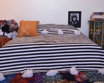 Morocco blanket handmade bed cover ,blanket with pom poms, hand made bed cover on traditional wooden looms