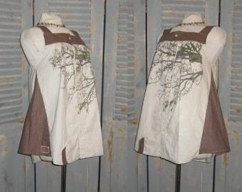Upcycled Tunic with Tree Pattern, Boho Chic, Artsy, Gypsy Girl, Tree