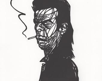 Nick Cave Linocut Letterpress Print