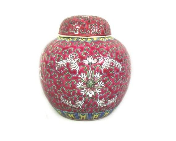Vintage Chinese Pink Ginger Jar