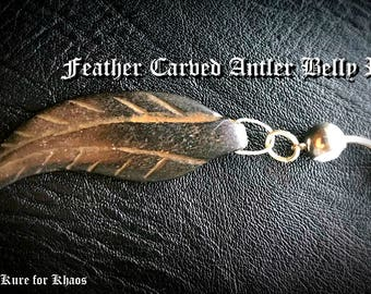 Feather Carved Antler Belly Ring 14g