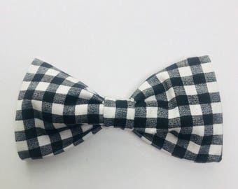 """Black and White Gingham Hair Bow OR Dog Bow Tie for 1""""-1.5"""" Collar"""