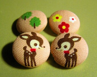 Deer Flora and Fauna Kawaii Fabric-Covered Buttons - Woodland Fabric Covered Buttons - Deer, Flowers, and Trees Buttons - Kids Buttons