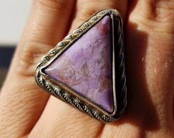 US Size 7.25 sterling silver and turkish purple jadeite statement ring
