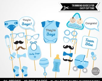BabyShower Twin boys PhotoBooth Pops, They're boys PhotoBooth Props, They're boys Props, BabyShower PhotoBooth Props, Babies Boy PhotoBooth