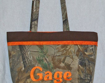 Camouflage  Camo Tote Diaper Bag, Market Bag, Big Bag, Mossy Oak Bag, Personalized Monogrammed With First Name, Ready To Ship TODAY AGFT 115