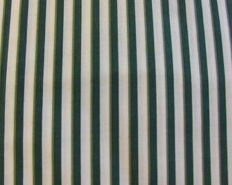 100% Cotton Fabric BTY - Green & Cream Stripe