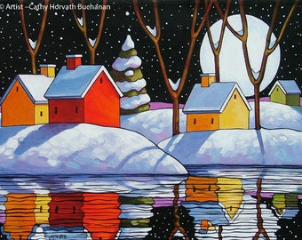 Night Moon Snow Water Reflection Art Print, Christmas Eve Winter Cottage Landscape, 8x11 Modern Folk Art Giclee Artwork by Cathy Horvath