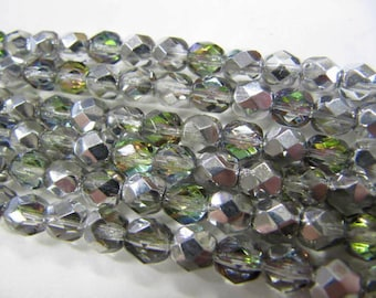 Faceted 6mm Round Beads Fire Polished Glass Beads, Silver AB, Czech Glass, 25 beads, Choose One or Two Strands, Vitrial Light