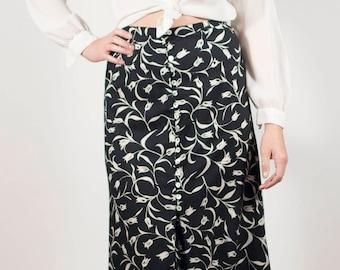 Grunge Skirt 90s Skirt Black Boho Skirt Floral Midi Skirt Minimalist Skirt Vintage Boho Maxi Skirt Size Small Front Slit Skirt