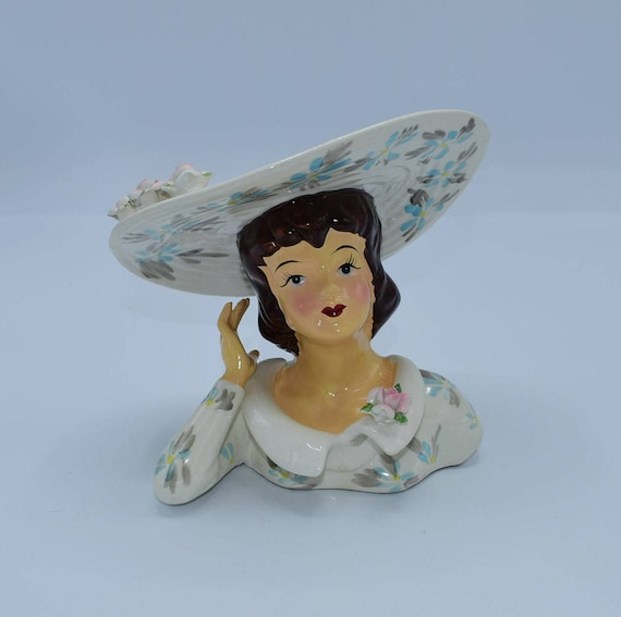 Lefton Lady Head Vase 1343A Vintage Japan 1950's Lady Head Vase Flowered Dress Hat Dark Hair Rare Collared Top Sculpted Flowers Gift for Her