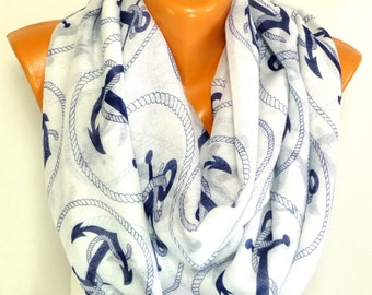 Scarf, Shawl, infinity scarf, Anchor Scarf, Sailor Scarf, Anchor Printed Shawl, Womens Accessories, Lightweight Summer Scarf, Free Shipping