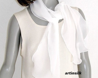 "Natural White Silk Chiffon Small Scarf, Sheer Scarf Girl Teenager, Bridal Evening, soft wavy edge 11"" x 54"", Black Petite Scarf, Artinsilk."