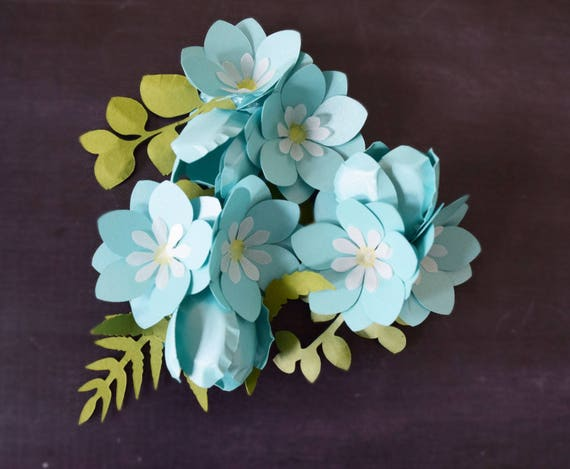 Small DIY Paper Flower Templates & Tutorial Forget me not