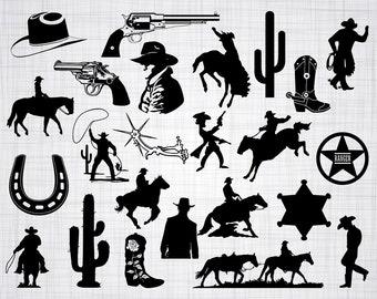 Cowboy SVG Bundle, Cowboy SVG, Cowboy Clipart, Cowboy Cut Files For Silhouette, Files for Cricut, Vector, Western Svg, Dxf, Png, Eps, Decal