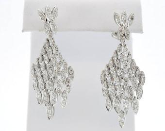 Art Deco Platinum 18k White Gold Dangle Leverback Earrings