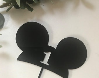 "Cake Topper | Custom | Party Event  | Wedding  | Personalised | Engagement  | Birthday |  Wooden Cake Topper - ""Mickey + Number"""