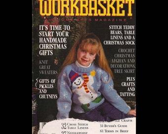 The Workbasket - Volume 55 No 8 - Vintage Craft Magazine c. June-July 1990 - Knitting - Crochet - Crafts - Foods - Gardening