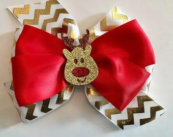 Christmas Hair Bow Rudolph Hair Bow Reindeer Hair Bow Holiday Bow Gold and White Chevron Bow Red and Gold Bow with Reindeer Christmas Bow