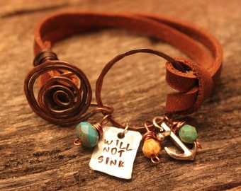 Will not sink hammered copper and leather bracelet