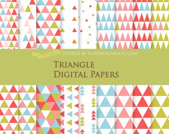 Triangle / Blue, Pink, Red, Green Digital Paper Pack - Instant  Download - DP012