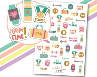 Ready to ship! Gold foil gym planner stickers, Motivation stickers, Workout stickers, Gym time stickers, Fitness stickers, Exercise stickers