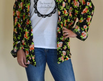 The Smoking Kimono jacket, vintage fabric, black and red floral print size M/L jacket. Made to order