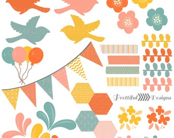 Girly Retro Clip Art Digital Bird Banner Hexagon Washi Tape Flowers