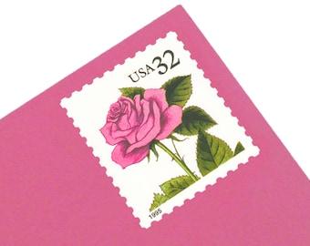 Pack of 20 Unused Pink Rose Stamps - 32c - Vintage 1995 - Unused Postage - Quantity of 20