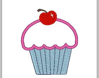 "Cherry Cupcake Applique- 2.3"" x 2.75"" - Machine Embroidery File"
