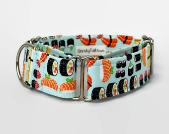 Sushi Adjustable Dog Collar -  Martingale Collar or Side Release Buckle Collar - Sushi Rolls & Nigiri on light blue