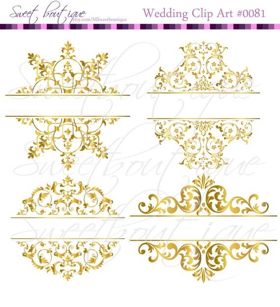 4 Gold Digital Borders Frames Vintage Wedding Bridal Shower