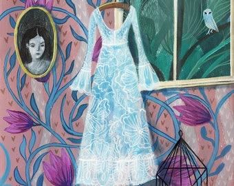 Halloween, original painting,  halloween art, haunted room, ghost, owl, ghost painting, halloween decoration, acrylic painting, Sofia Moore