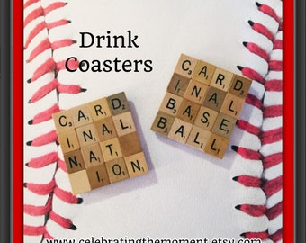 CARDINALS BASEBALL, Drink Coaster, STL Cardinals Decor, Baseball Decor, Man Cave Decor, Gift for Baseball Coach, Stl Cardinals