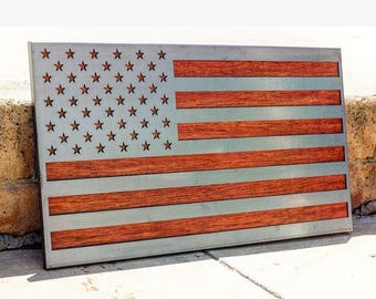 Metal American Flag, Wood American Flag, Metal and Wood American flag, American flag art, Laser cut American Flag, American flag wall decor,