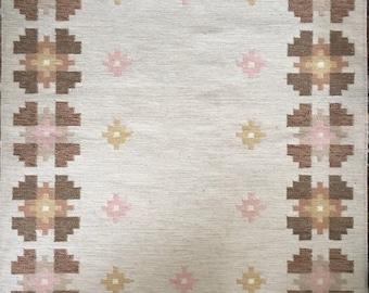 Vintage Scandinavian Swedish traditional flatweave wool rug or rya