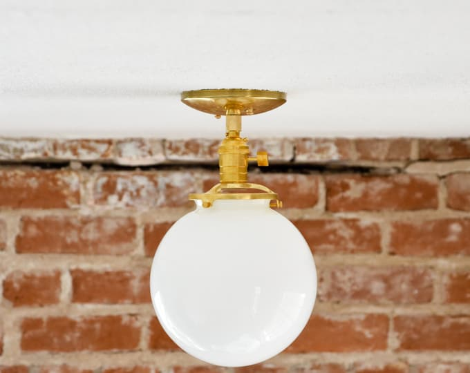 "Semi Flush Solid Raw Brass 8"" White Opal Globe Flush Mount Industrial Modern Ceiling Lighting Polished Nickel Gold UL Listed"