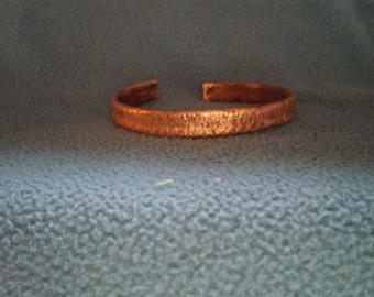 Copper Cuff Bracelet Line Texture
