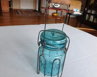 Canning Jar holder wood handle McDonald blue jar